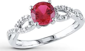 Kay Jewelers Lab-Created Ruby Ring 1/15 ct tw Diamonds 10K White Gold