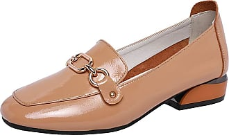 Jamron Womens Fashion Square Toe Chunky Heel Patent Leather Loafers Shoes Brown SN02605 UK7.5