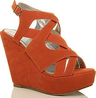 98c3e989aa5a48 Ajvani Damen Hohe Keilabsatz Plateau Riemchen Ausgeschnitten Sandalen  Schuhe Größe 4 37