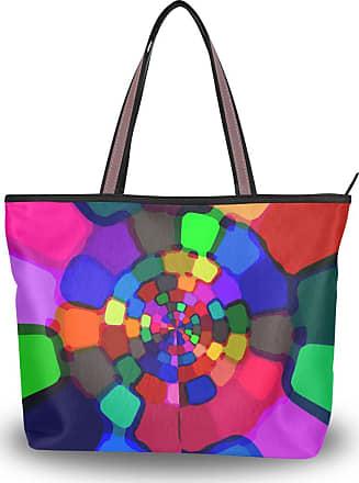 Lorona Women Colorful Rings Circle Canvas Shoulder Hand Bag Large Capacity Tote Bag