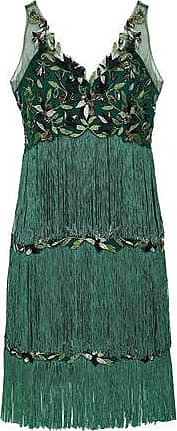 Marchesa Marchesa Notte Woman Tiered Fringed Embellished Tulle Dress Emerald Size 6