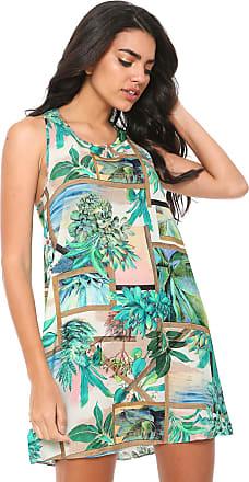 Lez a Lez Vestido Lez a Lez Curto Floral Bege/Verde