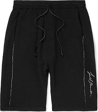 Isabel Benenato Slim-fit Embroidered Loopback Jersey Shorts - Black