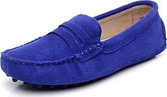 Jamron Womens Classic Suede Penny Loafers Comfort Handmade Slipper Moccasins RoyalBlue 24208 UK5.5