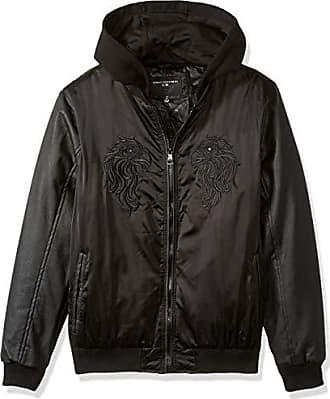 Urban Republic Mens Heavy Poly Satin Jacket, Black, S