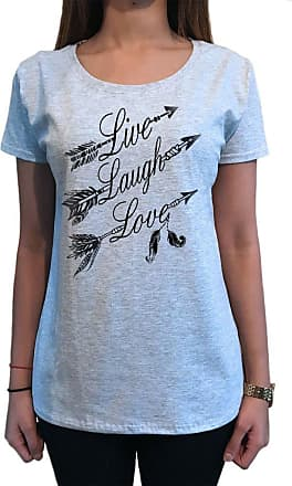 Irony Womens Top Live, Laugh, Love Tribal American Feathers Dreamcatcher TS1259 (Grey, Large)