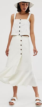 Whistles linen button frill midi skirt-Cream