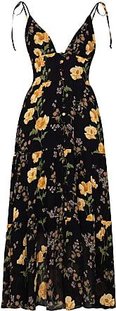 Reformation Jaden floral-print midi dress - Preto