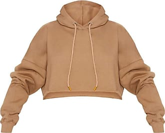 Crazy Girls Womens Long Sleeve Drop Shoulder Oversized Cropped Hoodied Sweatshirt Top (12-14, Camel)