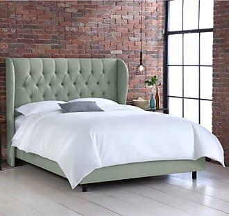 Skyline Furniture Tufted Wingback Linen Upholstered Bed Linen Swedish Blue, Size: Queen - 412BEDLNNSWDBL