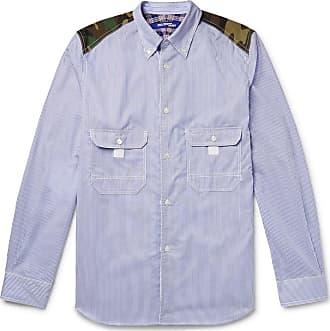 Junya Watanabe Button-down Collar Contrast-trimmed Striped Cotton-poplin Shirt - Light blue