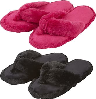 Forever Dreaming Ladies Memory Foam Faux Fur Flip Flop Style Indoor Slippers - 2 Pack - Black/Pink Size 3