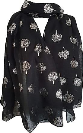 GlamLondon Glitter Trees Scarf Womens Foil Printed Tree Fashion Ladies Wrap (Black)