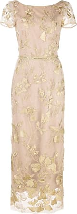 Marchesa floral embroidered evening dress - Gold