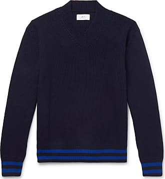 Mr P. Striped Ribbed Cotton Sweater - Navy