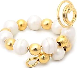 Tinna Jewelry Anel Dourado Espiral De Pérolas E Bolinhas