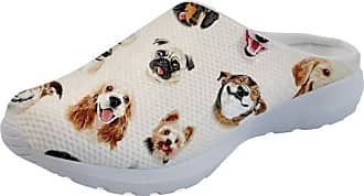Coloranimal Outdoor Go Easy Walking Backless Slippers Funny Animal Dog Printed Garden Clogs Summer Air Mesh Lightweight Open Back Flats