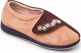 Padders HUG Ladies Microsuede Velcro Extra Wide (EE) Fitting Slippers Camel-Brown UK 7