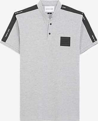 The Kooples Grey cotton polo w/officer collar logo patch - MEN