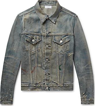John Elliott + Co Thumper Iii Distressed Paint-splattered Denim Jacket - Indigo