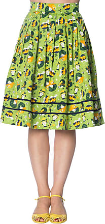 Banned Vintage Hat Fifties 50s Rockabilly Flared Skirt - Lime Green/UK-14