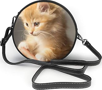 Turfed A Fluffy Cute Kitty Print Round Crossbody Bags Women Shoulder Bag Adjustable PU Leather Chain Strap and Top Zipper Small Handbag Handle Tote