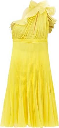 Giambattista Valli Pleated Silk One-shoulder Ruffle Dress - Womens - Yellow