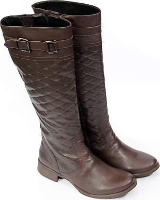 Generico bota feminina, estilo montaria em legitimo couro bovino, forrada em tecido espumado modelo 208 cla (34, 208 N.Mestiço Cafe)