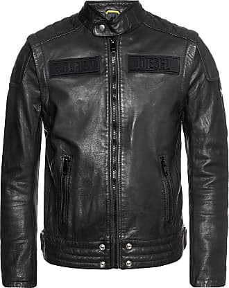 Diesel Branded Leather Jacket Mens Black