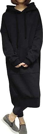 Dresswel Womens Hoodie Dress Long Sleeve Jumper Dress Oversized Sweatshirt Pullover Longline Tops Black
