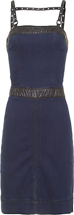 Replay Vestido Jeans Midi Detalhe - Azul
