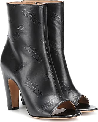 Maison Margiela Embossed leather peep-toe ankle boots