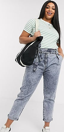 Urban Bliss Mom jeans con vita alta e cintura blu