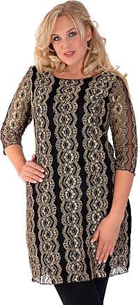 Nouvelle Collection Gold Flower Lace Ponte Dress Black 22-24