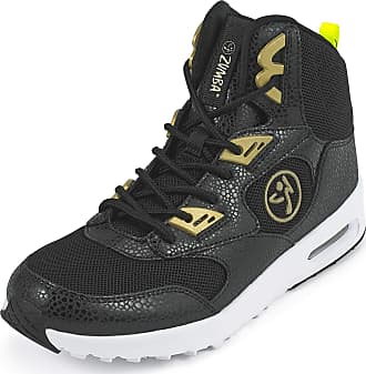 Zumba Air Classic Remix High Top Fitness Workout Dance Shoes for Women, Black/Gold, 2.5 UK