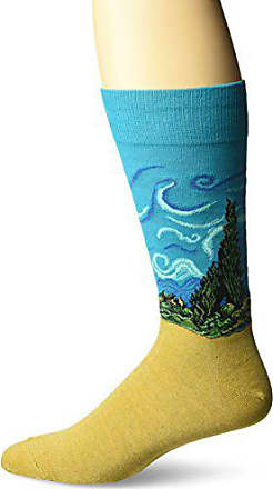 Hot Sox Mens Famous Artist Series Novelty Crew Socks, Wheat Field with Cypress (Turquoise), Shoe Size: 6-12