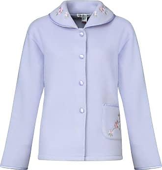 Slenderella Ladies Soft Polar Fleece Button up Bed Jacket Floral Embroidered Detail House Coat UK 16/18 (Lilac)