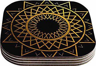 KESS InHouse Matt EklundGilded Sundial Gold Black Coasters (Set of 4), 4 x 4, Multicolor