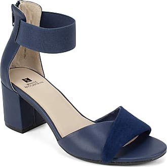 White Mountain Womens Evie Fabric Open Toe Casual Ankle Strap, Navy, Size 6.0 US / 4 UK US