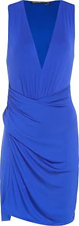 Morena Rosa Vestido Decote V Drapeado - Azul