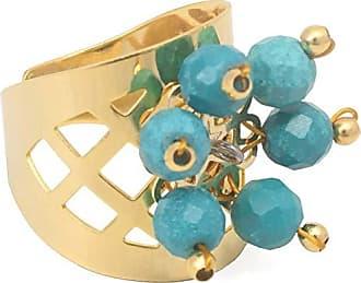 Tinna Jewelry Anel Flor 6 Pétalas Com Turquesa (Dourado)