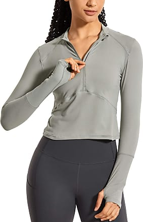 CRZ YOGA Womens Running Shirt Long Sleeve Shirt Dry Fit Half-Zip Workout Tops Crop Athletic Rock Grey 14