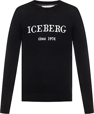 Iceberg Cashmere Sweater With A Logo Mens Black