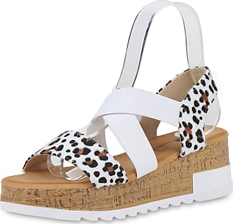 Scarpe Vita Women High-Heeled Sandals Platform Sandals Prints Synthetic Fur 192521 White Black Light Brown Leo UK 3.5 EU 36