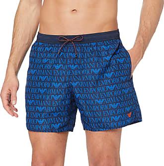 Emporio Armani Mens Swim Shorts-Blue (Blu Navy Stampato 01038) -Large