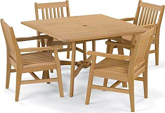 Oxford Garden Outdoor Oxford Garden Wexford Shorea Wood 5 Piece Patio Dining Set with Wood Like Table Top - 5391