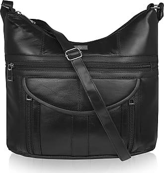 Quenchy London Ladies Designer Handbag in Soft Real Sheeps Leather - Shoulder Cross Body Bag with 7 Pockets - H30cm x H33cm x D9cm QL176 Black