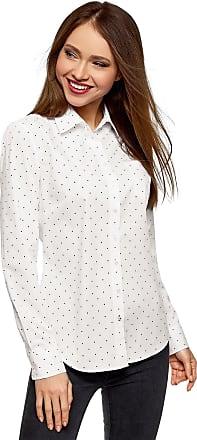oodji Womens Basic Single Pocket Shirt, White, UK 10 / EU 40 / M