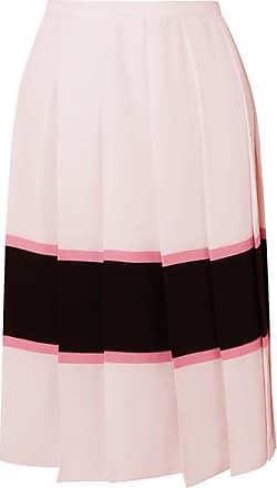9d5eac72ca Marni Pleated Striped Crepe De Chine Skirt - Pastel pink