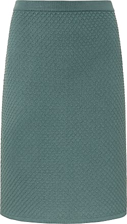 Peter Hahn Pull-on skirt knitted honeycomb pattern Peter Hahn green